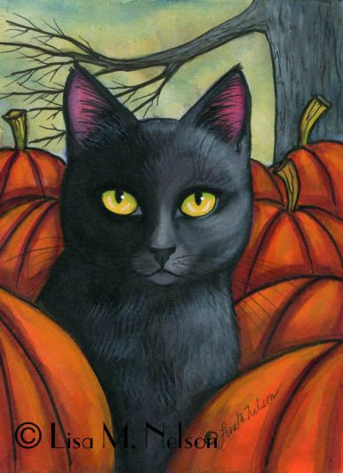 Original Autumn Mixed Media Painting Illustration Black Cat Pumpkin Patch FREE US Shipping
