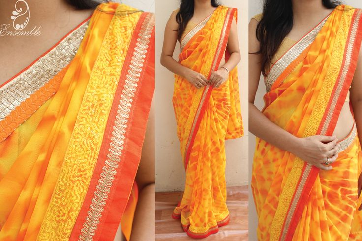 Semi chiffon tie & dye saree finished with sequins border En 183 • ensemble designs chennai