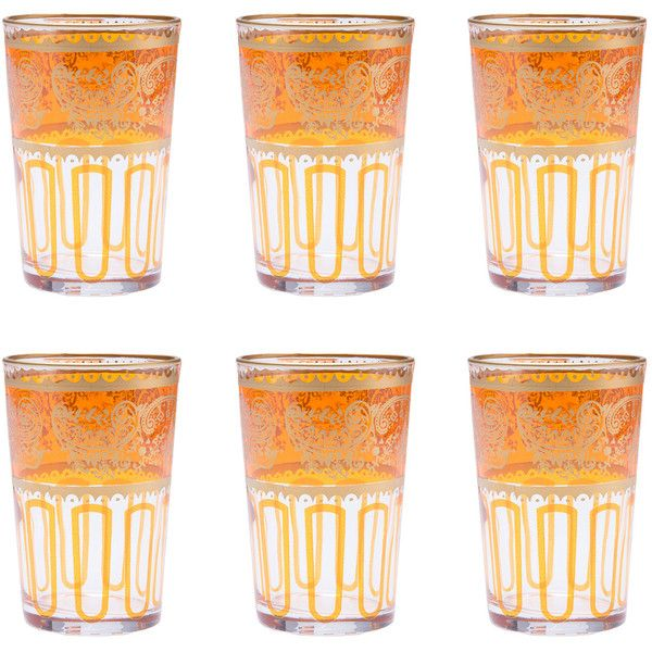 Dot & Bo Orange Moroccan Tea Glasses - Set of 6 (150 BRL) ❤ liked on Polyvore featuring home, kitchen & dining, drinkware, orange mug, tea mug, moroccan tea glasses and orange wine glasses