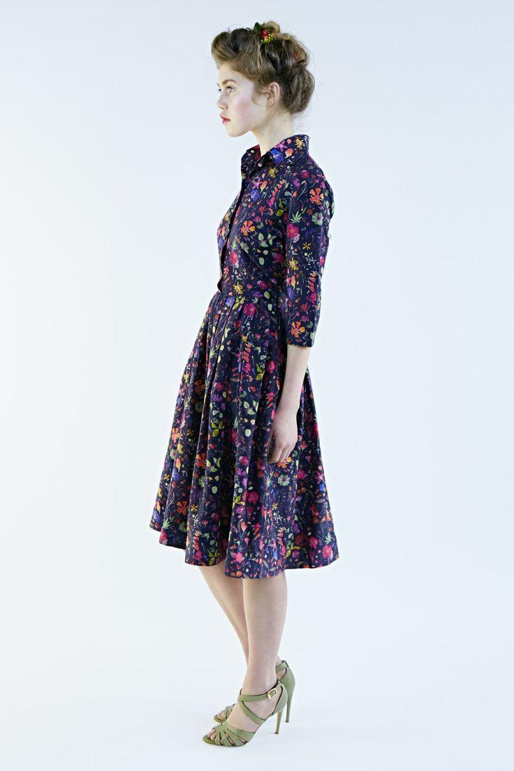 50s Dress Floral Dress Shirtwaist Dress Knee lengh por mrspomeranz