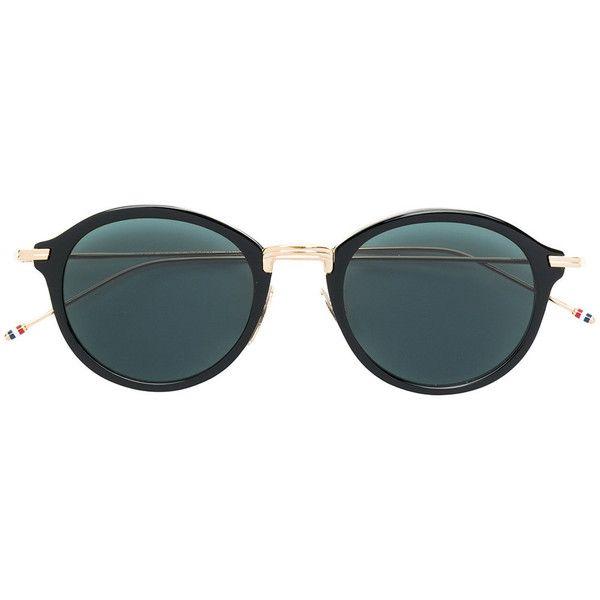 Thom Browne Eyewear round frame sunglasses (€625) ❤ liked on Polyvore featuring accessories, eyewear, sunglasses, black, round sunglasses, round frame sunglasses, round frame glasses, dark tinted sunglasses and unisex sunglasses