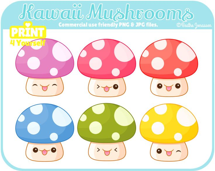 Instant Download Kawaii Mushrooms Clipart // Kawaii Clipart // Mushroom Clipart // Woodland Clipart // Cute Clipart // Cute Mushrooms by Print4Yourself on Etsy https://www.etsy.com/listing/249967082/instant-download-kawaii-mushrooms