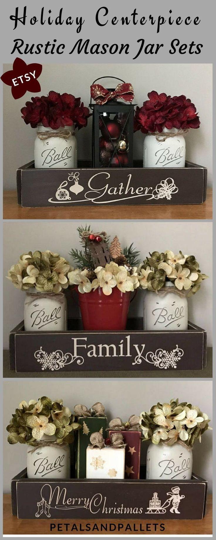 Mason Jar Christmas Centerpiece, Rustic Christmas Centerpieces, Farmhouse Christmas Decor, Winter Decor, Lantern Decor, Painted Mason Jars #ad