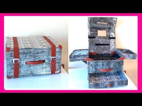 Como hacer un maletín organizador de maquillaje con cajas de cartón, man...