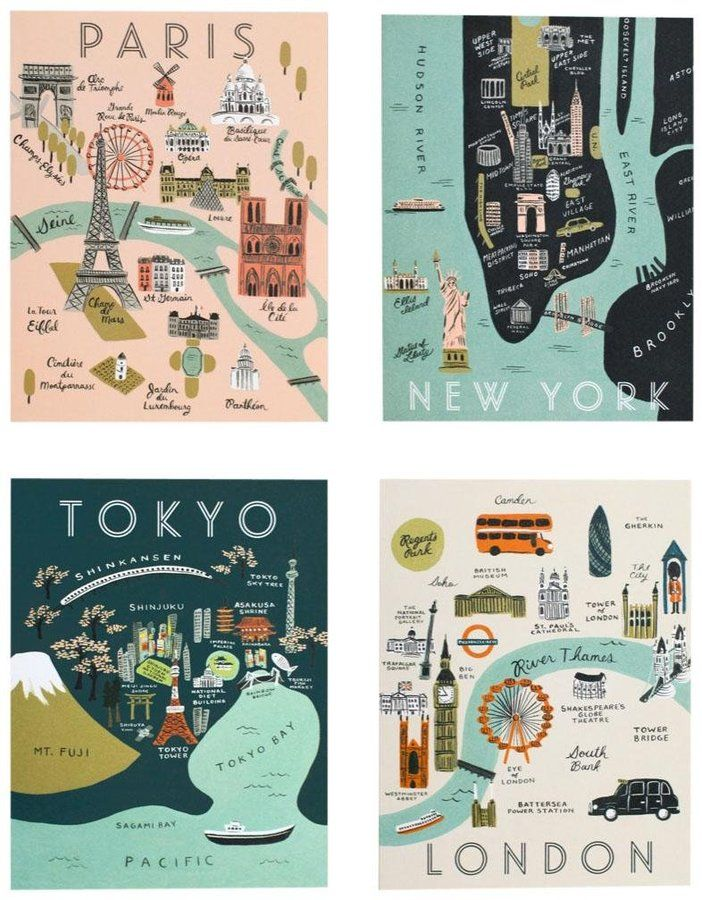Rifle Paper Co. City Map Card Set - Assorted - 8 ct