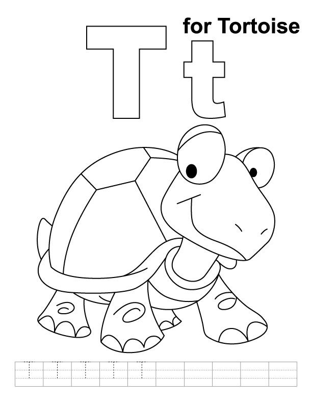 T for tortoise coloring page with handwriting practice