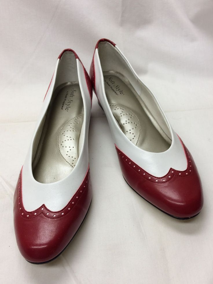 Hush Puppies Shoes Ladies Slip-On Shoes Red & White UK 8N CM 26N Euro 41/42N   #HushPuppies #PumpsClassics #SpecialOccasion
