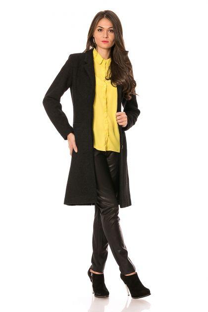 Palton negru din lana Mirabela