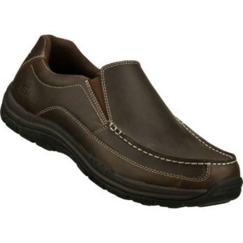 Skechers Mens Dark Brown Shoes Relaxed Fit Casual Slip-On Leather $69.99