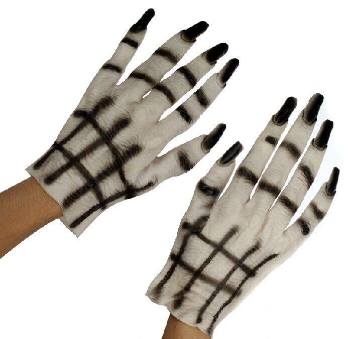 2PC ghost glovesMens Halloween  Party  Devil Vampire Monster Horror Hands White Fancy Dress Costume Gloves