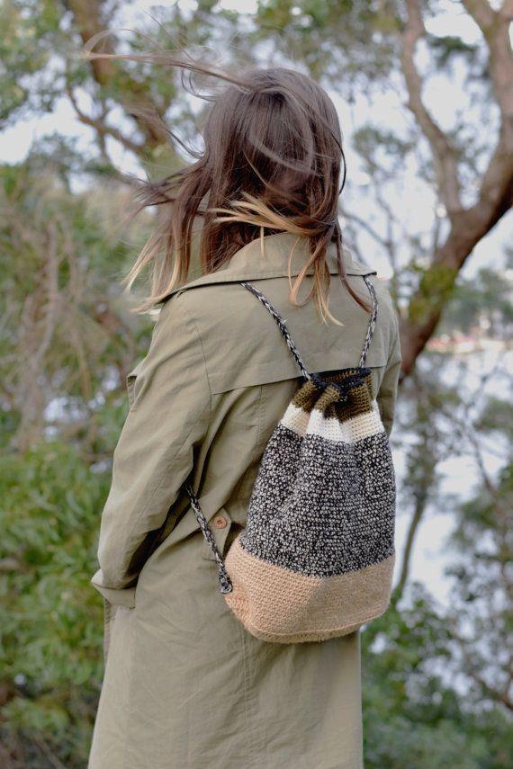 The Drawstring Backpack Crochet Pattern by SchoolofHardKnots
