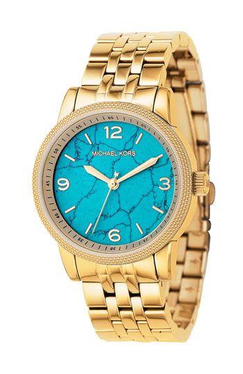 Michael Kors watch: Fashion, Style, Michael Kors Watch, Kors Turquoise, Mk Watch, Gold Watches, Accessories, Turquoise Watch, Michaelkors