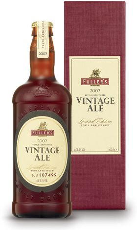 """Vintage Ale is a truly distinguished bottle-conditioned ale, crafted by Fuller's Head Brewer, John Keeling. Each vintage is a blend of that year's finest malt and hops, and of course our unique yeast, creating a unique limited edition brew.Bottle conditioning means that a little yeast is left in the bottle after bottling, which will mature slowly over time like a fine wine or whisky - well beyond the 'best before' date that we are obliged to state (we think it should read """"best after!"""")."""