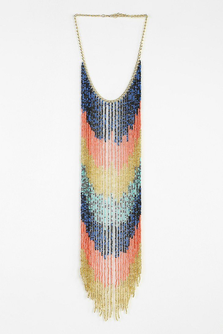 Flowing Beaded Statement Necklace - Urban Outfitters