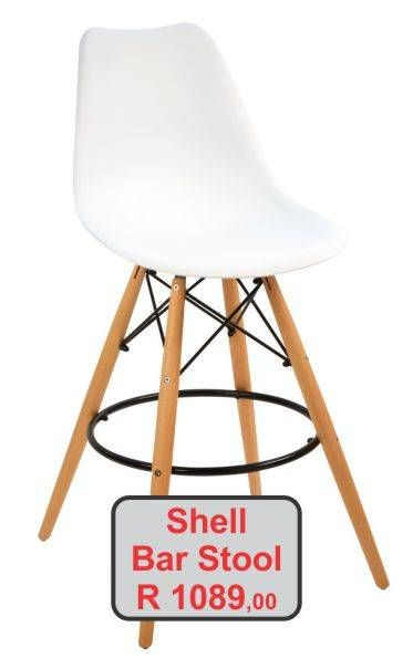 White plastic seat Shell bar stool with wood legs