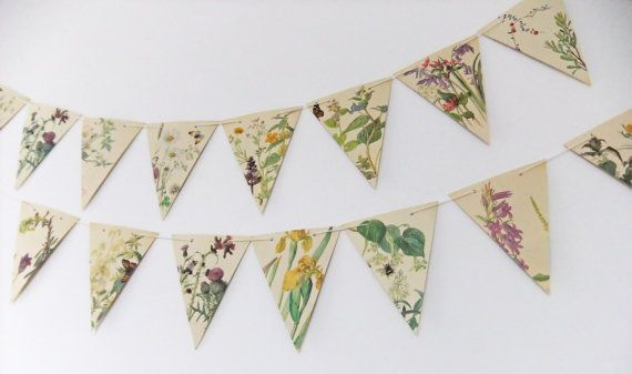 Spring and Summer Paper Bunting  recycled from by peonyandthistle, £8.50
