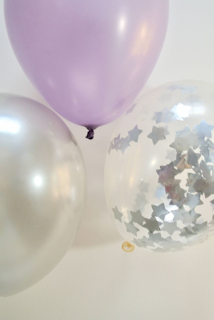 Confetti Balloon Silver. 12 inch. Purple and Silver Decor. Twinkle Twinkle Little Star Decor. Twinkle Twinkle Little Star Baby Shower by PaperRabbit87 on Etsy
