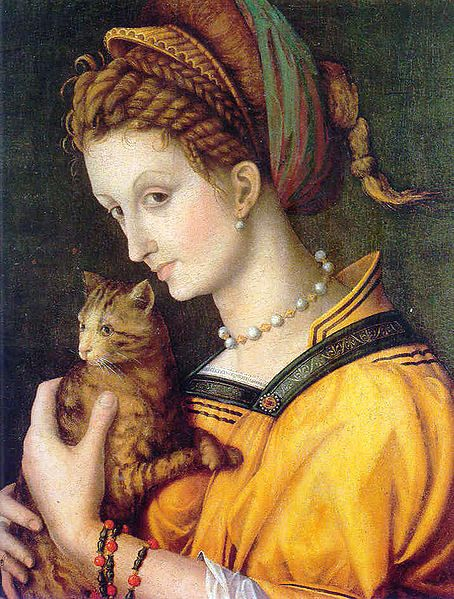 """""""Portrait of a Young Woman with a Cat"""", 1525, by Francesco d'Ubertino Verdi, a.k.a. Bachiacca (Italian, 1494-1557)"""