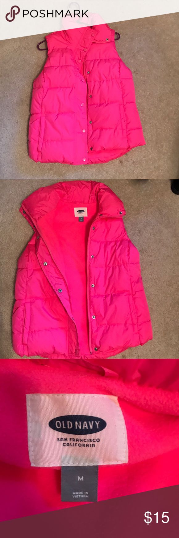 Pink vest Warm Old Navy pink vest in great shape! Size M Old Navy Tops