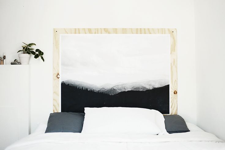 I finally got around to painting my room and making a headboard to go with my new bed. Waking up in a clean, fresh space has been amazing. This headboard is super simple but it's one of my favorite DIY's. I took this picture up in the Adirondacks this fall and now I get to wake up and look at that…