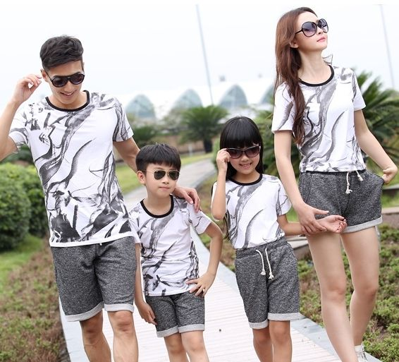 Бесплатная доставка семья наряды дети детей спортивная свободного покроя белый футболку + серые брюки 2 шт./компл.