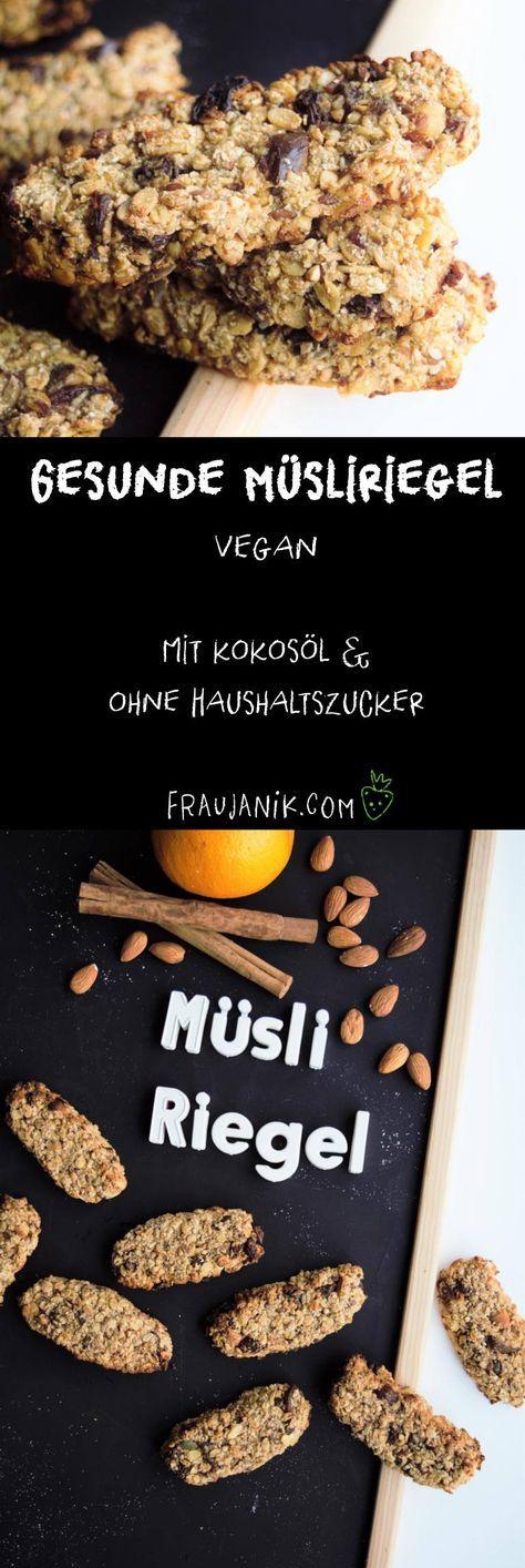 Gesunde Müsliriegel selber machen | vegan - mit Kokosöl, ohne Haushaltszucker & viel Power... #müsliriegel #müsli #gesundbacken #gesundessen #vegan #veganermüsliriegel #müslibar #frühstückskekse #fraujanik