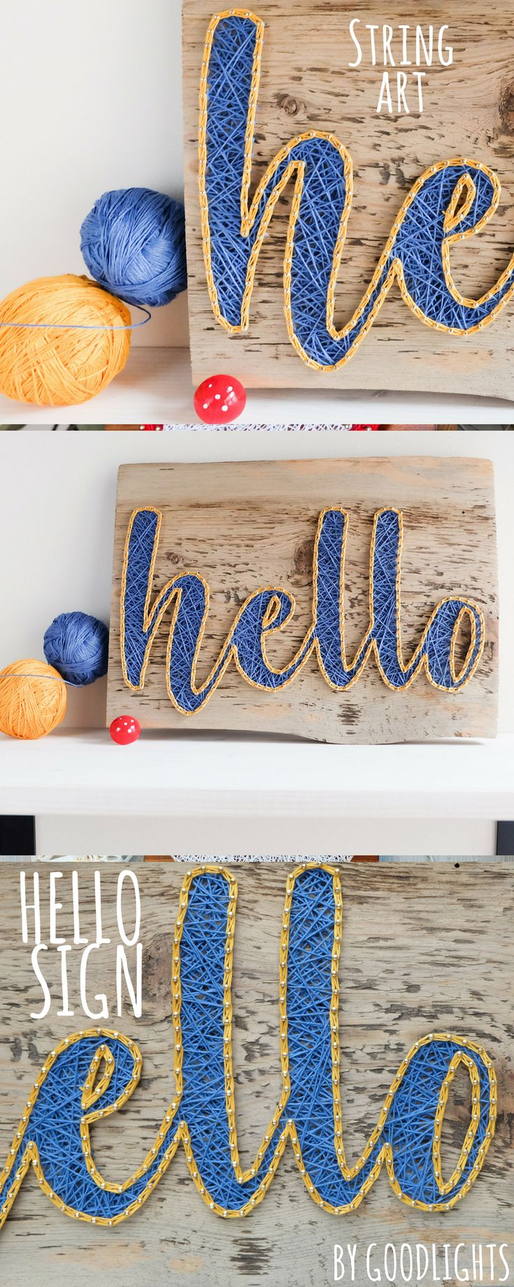 HELLO entryway string art sign in yellow and blue made on reclaimed wood base.
