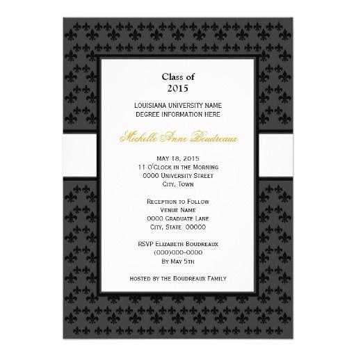 32 best graduation invitations formal images on pinterest black gray fleur de lis border formal graduation invitations stopboris Gallery
