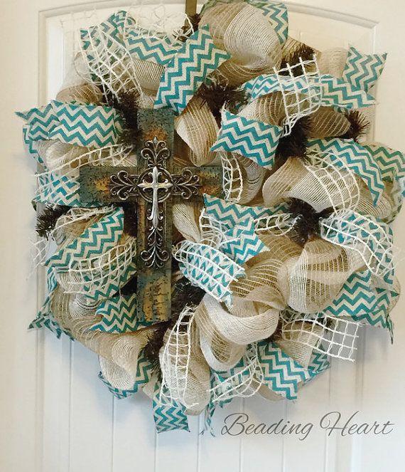 Burlap Cross Wreath, Cross Wreath, Wreath with Cross, Cross Door Wreath, Religious Wreath For Front Door, Christian Door Decor, Wreaths