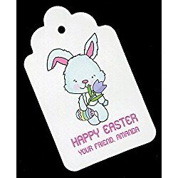Easter Gift Tags, Bunny with Tulip, Personalized Set of 25