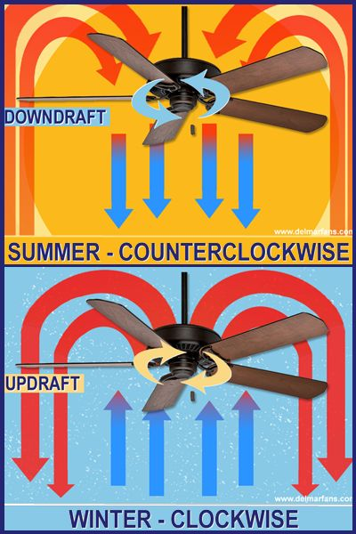 Discover the Correct Fan Direction for Max Comfort and Savings http://www.delmarfans.com/educate/basics/what-is-the-proper-ceiling-fan-direction/