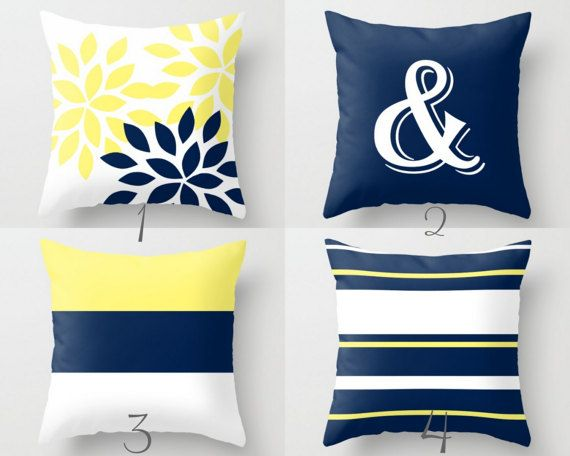 Navy Yellow Pillow Covers Decorative Pillows Ampersand
