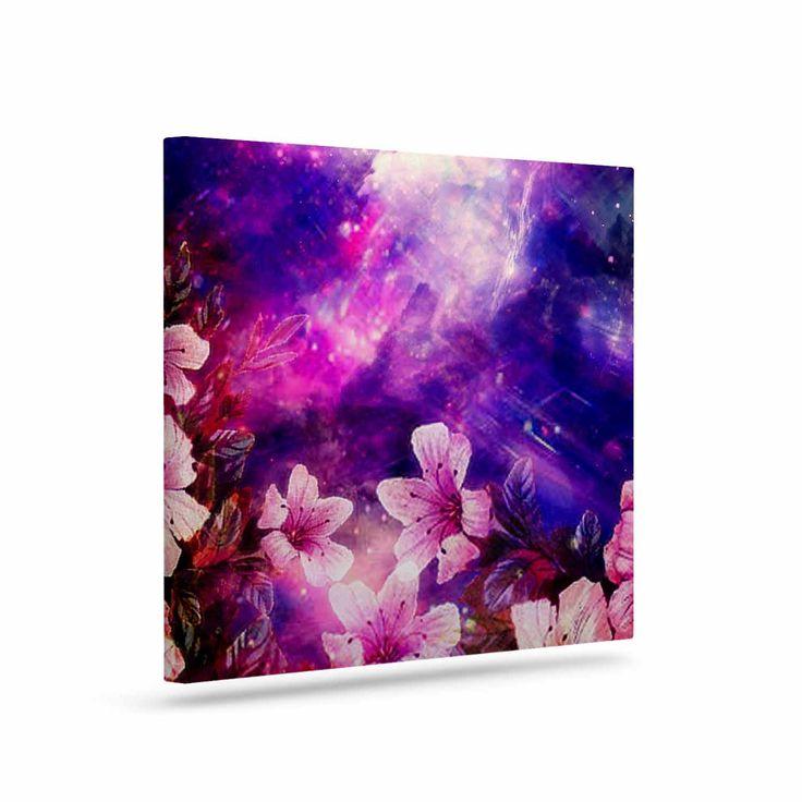 "Shirlei Patricia Muniz ""Space Flowers"" Pink Purple Canvas Art"
