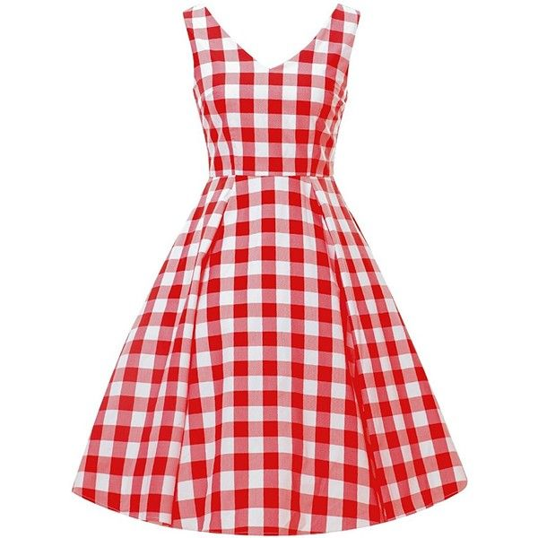 HongyuTing 1950s Vintage V-neck Painted Gingham Party Casual Retro Swing Dress featuring polyvore women's fashion clothing dresses party dresses red vintage dress trapeze dress vintage dresses v neck dress