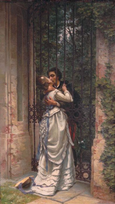 Allason, Silvio (b,1845)- Kissing Through Gate -2b http://www.flirt-local.com/?siteid=1713448