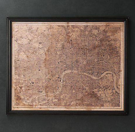 Restoration Hardware: Vintage London, Maps 1295, Antiques Maps, Restoration Hardware, Catalog, Circa 1890, London Maps, Products, 1890 London