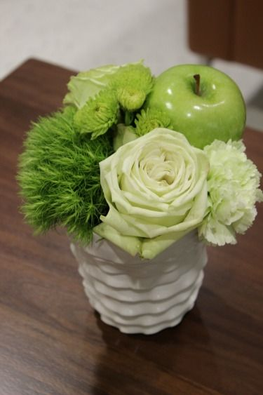 Green apple centerpieces | Mixed Green Decor, Green Centerpieces, Green Apple Centerpieces,