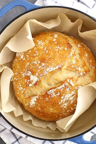 No-Knead Dutch Oven Bread | girlversusdough.com   This is the recipe Mara uses with King Arthur all purpose flour. Add about a tablespoon and a half of chopped fresh rosemary and sprinkle the top of the load with sea salt before baking. Use a 4 or 6 qt Dutch Oven...just make sure it is completely oven safe. Cast iron is nice.
