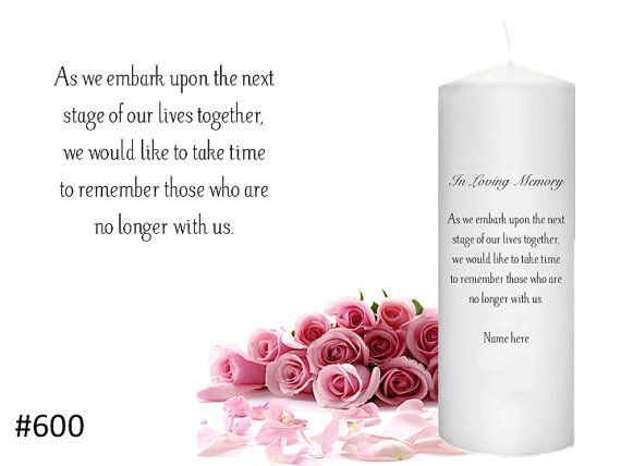 A Personalized Candle is a great way to honor a loved one at your wedding.   In Memory Candles for Weddings by MichelleEtsyShop on Etsy, $20.50