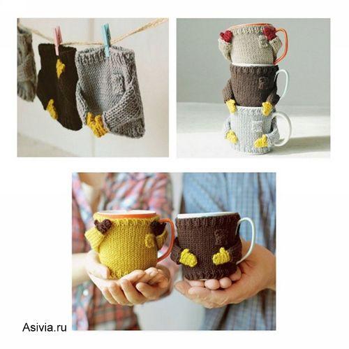 вязаные свитерки на кружку