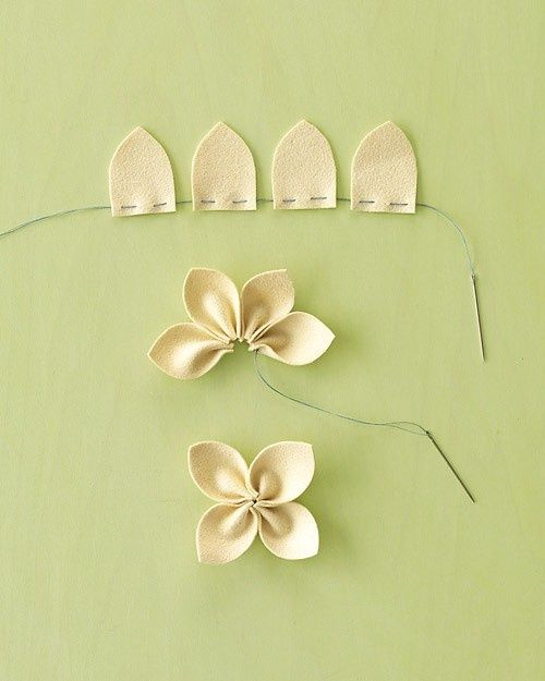 DIY material flowers... so cute