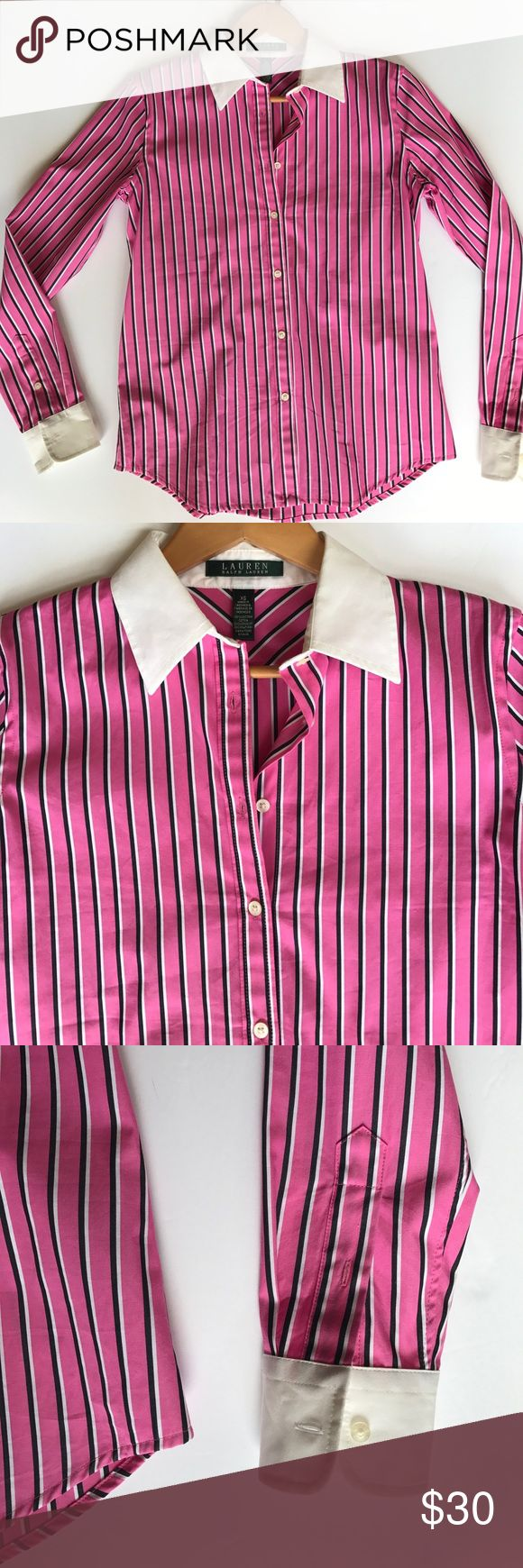 Lauren Ralph Lauren 🌷💼 Sharp Lauren Ralph Lauren  Button down Oxford shirt Pink with black striped  White collar  Size xs 0 2 4 Like new worn once   Are you bored in the boardroom? Tired of drab office attire? Trade in your stock of frumpy blouses and browse the Datpiff99 market of amazing wear-to-work styles! Professorial looks for amazing deals- buy while the price is low and invest your confidence! I know you will feel powerful in this top! Great with j.crew, loft & banana republic nail…