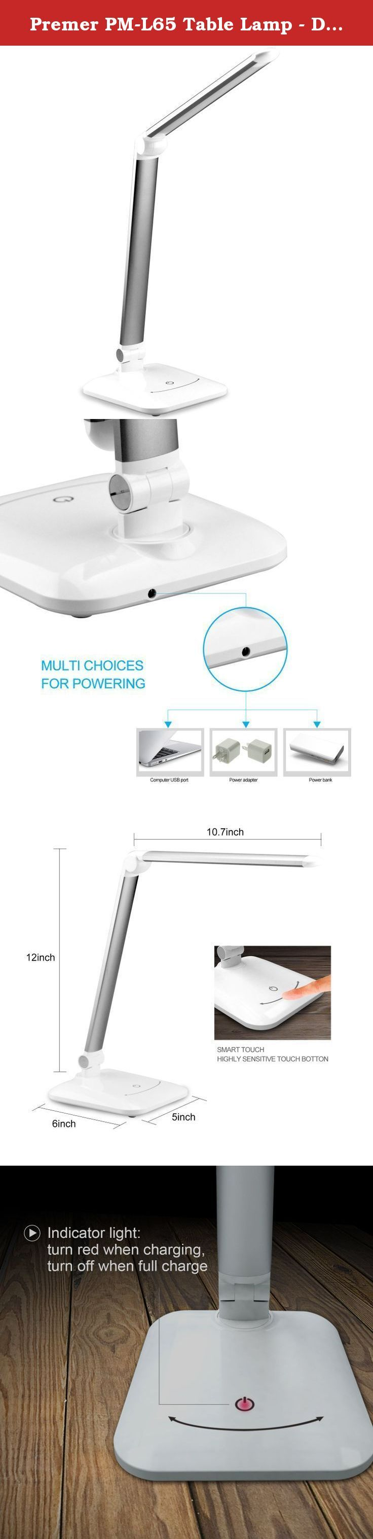 Premer PM-L65 Table Lamp - Dimmable Foldable LED Desk Lamp in 5 Brightness Levels With Charger for 8 hours use & Touch-sensitive Switch - 6W, Piano White. Premer PM-L65 is a new generation of eco-friendly LED lighting for your home or office. As an LED it consumes 75% less power than traditional incandescent lights, while providing the same amount of light. This means a smaller electricity bill and a smaller carbon footprint. * Eye Protection - No flickering, no dark area and no ghosting...
