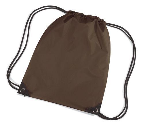 Bruine gymtasjes  Nylon gymtas in het donkerbruin van waterafstotende stof en reigkoord. Inhoud: 12 liter. Afmeting: 45 x 34 cm.  EUR 3.50  Meer informatie