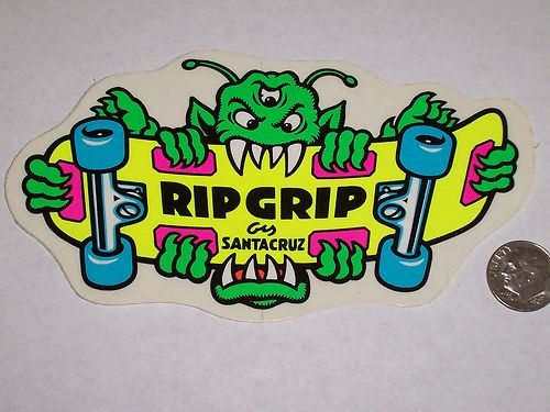 Vtg santa cruz ripgrip rip grip sma skateboard old school nos skate sticker 80s