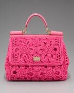 Crochet handbag.: Fashion, Crochet Bags, Style, Handbags, Dolce & Gabbana, Pink, Crochet Purse, Purses