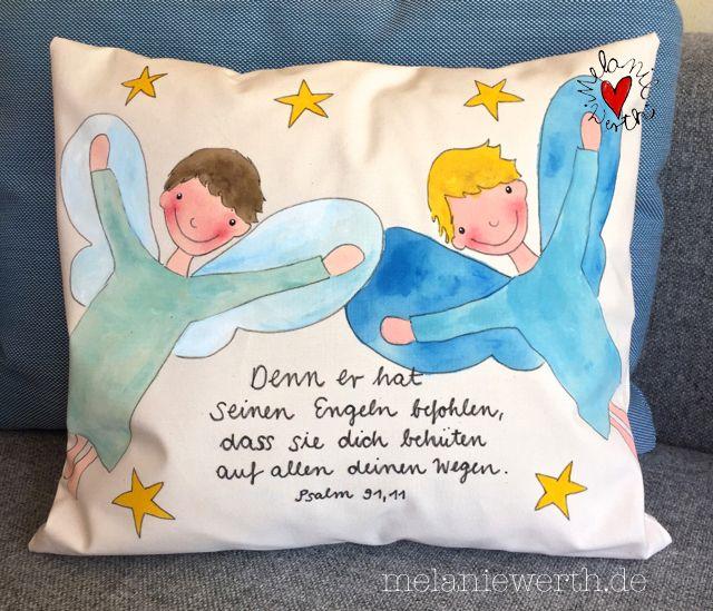 zwei engel jungs die dich beh ten kissenbezug aus bio baumwolle zu psalm 91 11 geschenk zur. Black Bedroom Furniture Sets. Home Design Ideas