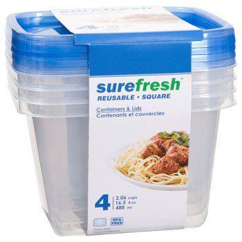 sure fresh medium square plastic storage containers 4ct set
