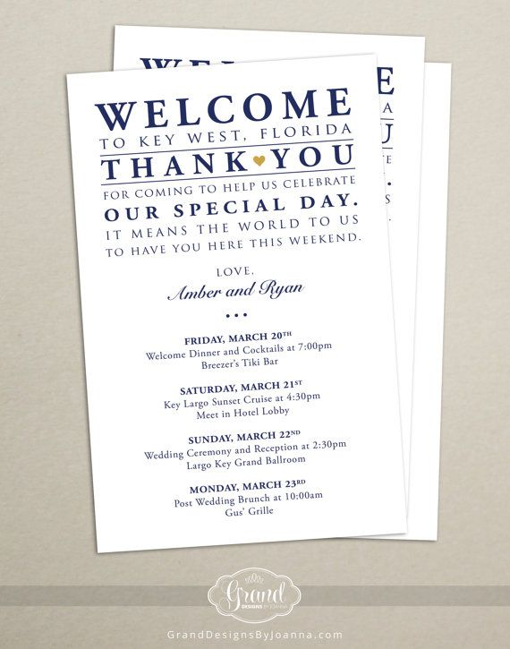 Itinerary cards for wedding hotel welcome bag printed for Supermarket bag packing letter template
