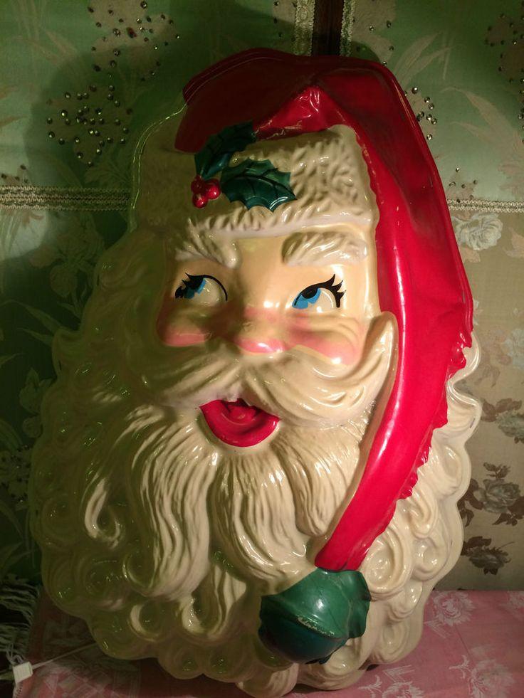 Vintage Old Fashion Lg 28 Quot Santa Face Xmas Blow Mold Wall